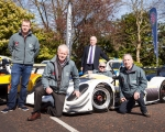 L-R; Championship coordinator, Alan Cassells; Murray Harrison of Jem Oils; North Down and Ards Borough representative, Gordon Dunne MLA; Reigning champion, Gerard O'Connell; John Rice of Jem Oils at the launch of the 2019 ANICC Millers Oils Northern Ireland hillclimb championship.(S3)